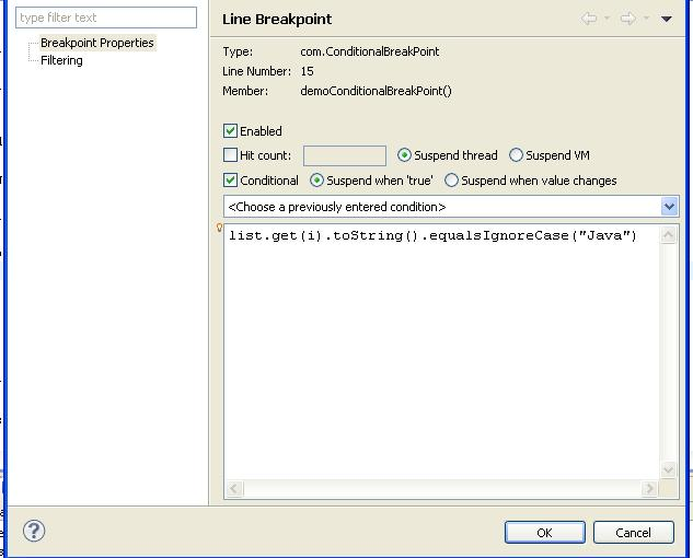 Conditional Breakpoint eclipse java