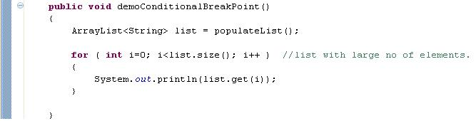 Java code for conditional break point